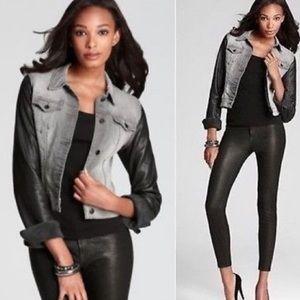 NEW J Brand Ashen Denim & Lamb Leather Jacket L